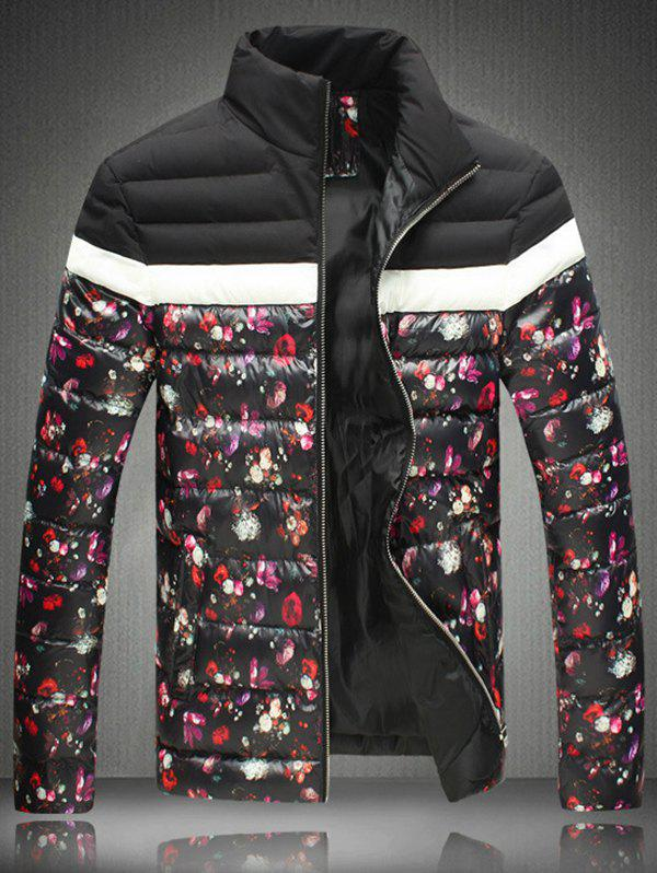 Zip-Up Stand Floral Print Collar Padded Jacket - BLACK XL