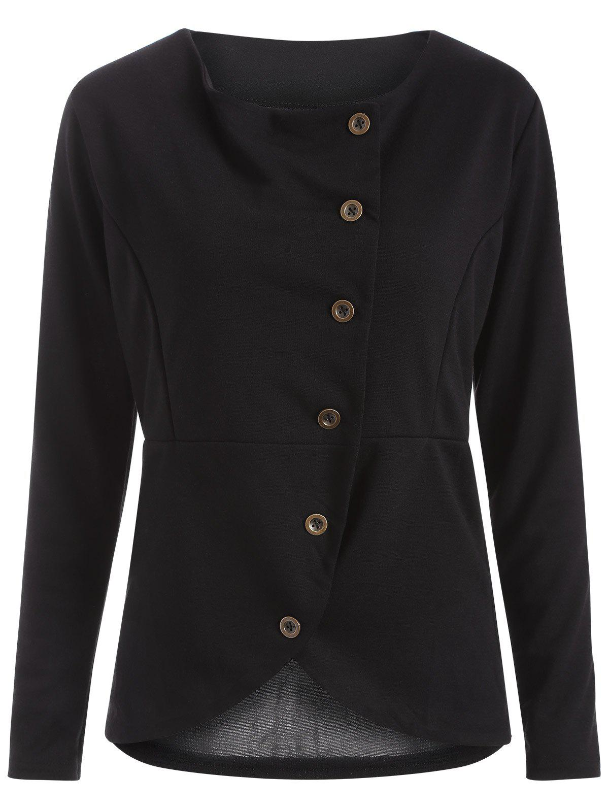 Asymmetric Buttoned T-Shirt - BLACK L