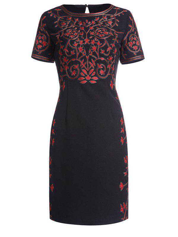 Embroidery Mini Short Sleeve Dress - BLACK S