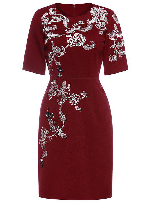 Embroidery Knee Length Dress - WINE RED S