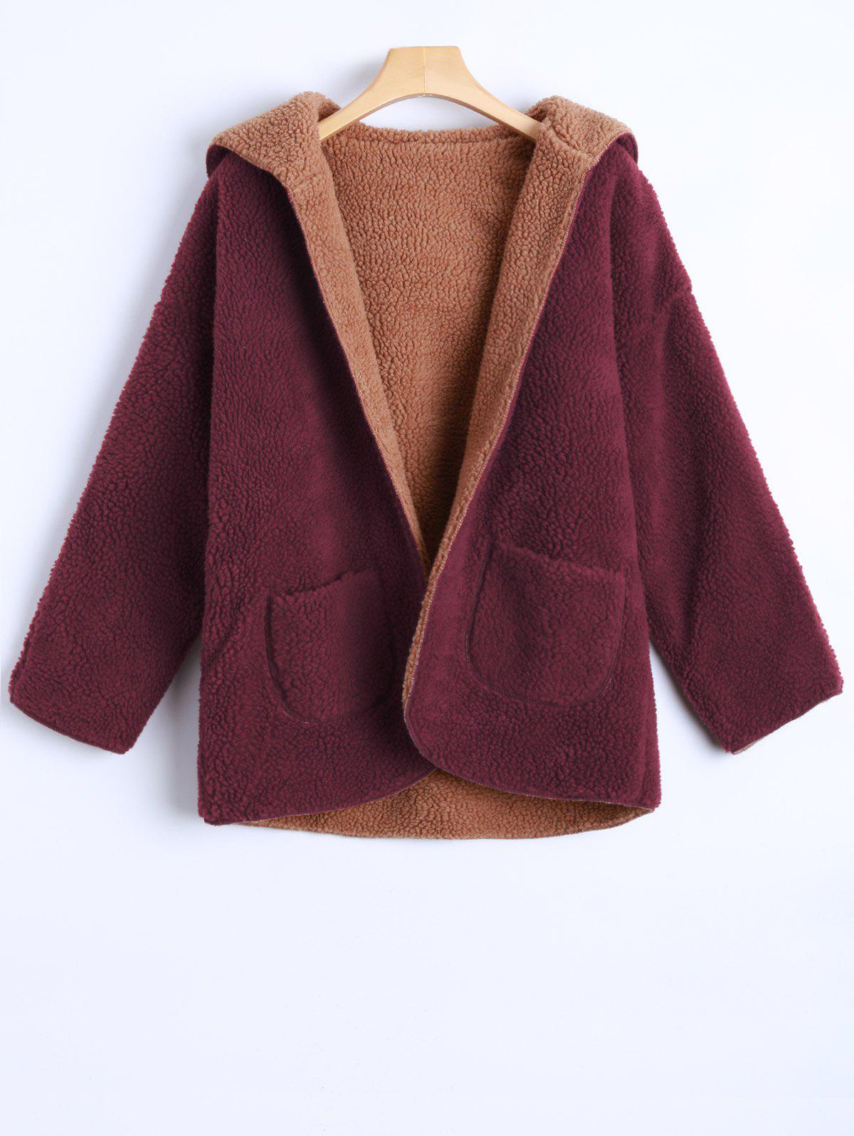 Hooded Double Side Cashmere Overcoat - WINE RED XS