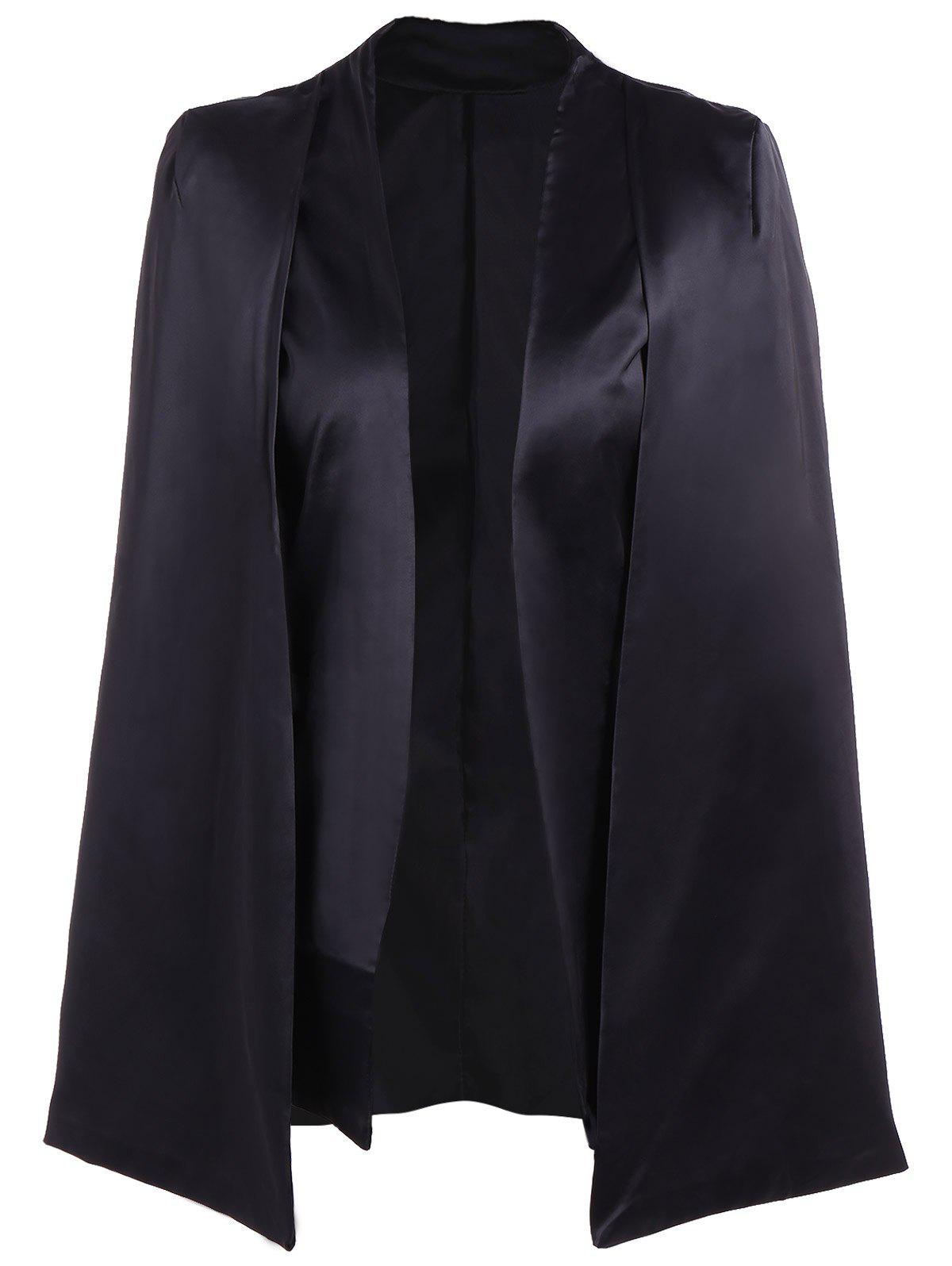Formal Collarless Jacket Cape Blazer - BLACK L
