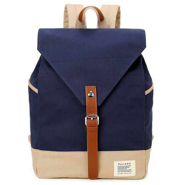 Canvas Buckle Strap Color Block Backpack - DEEP BLUE