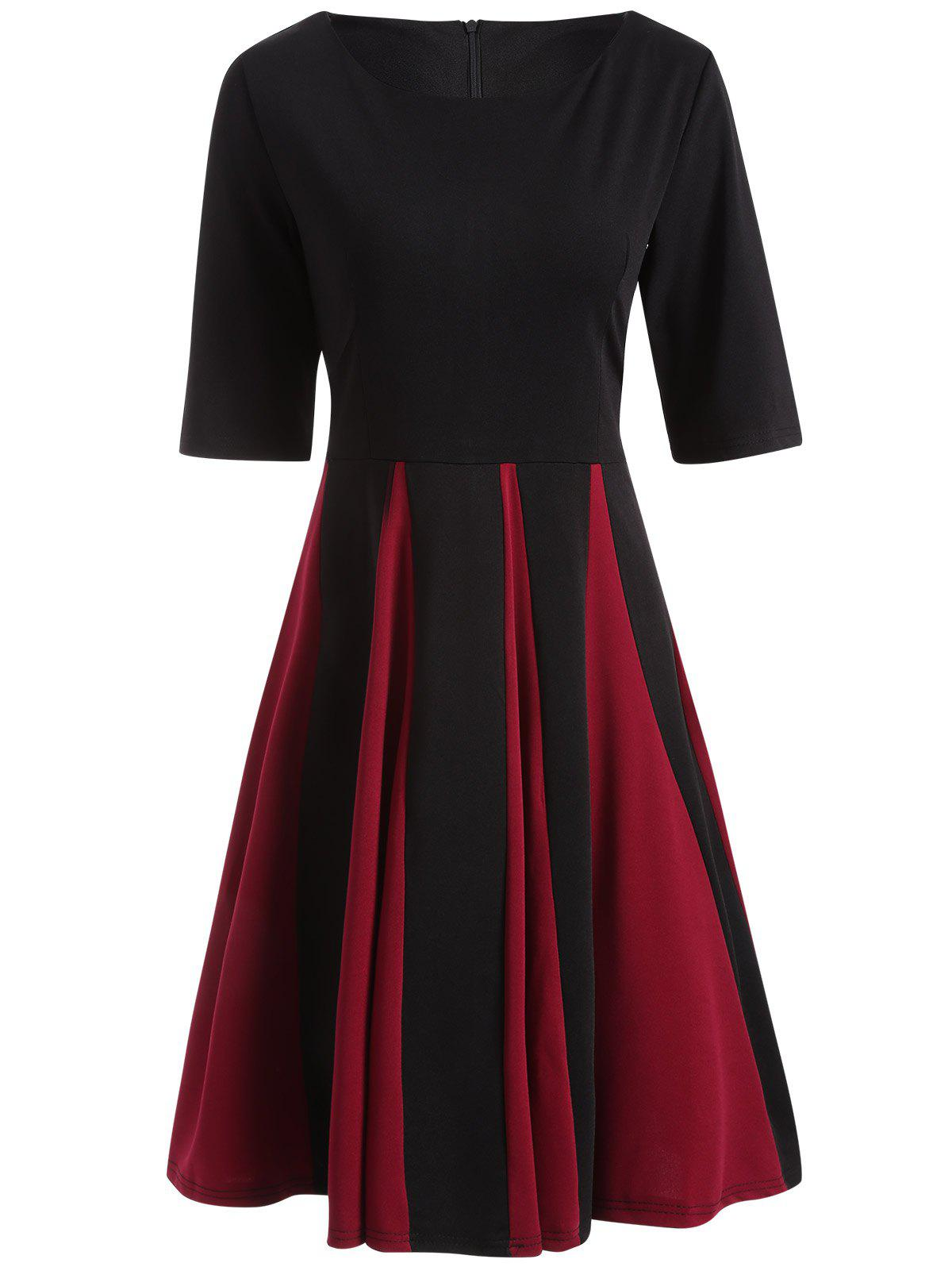 Color Block Fit and Flare Pleated Dress - BLACK XL