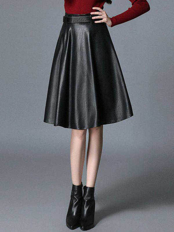 High Waist Faux Leather A-Line Skirt faux leather pleated a line skirt