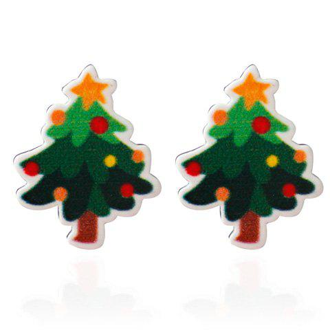 Pentagram Christmas Tree Stud Earrings