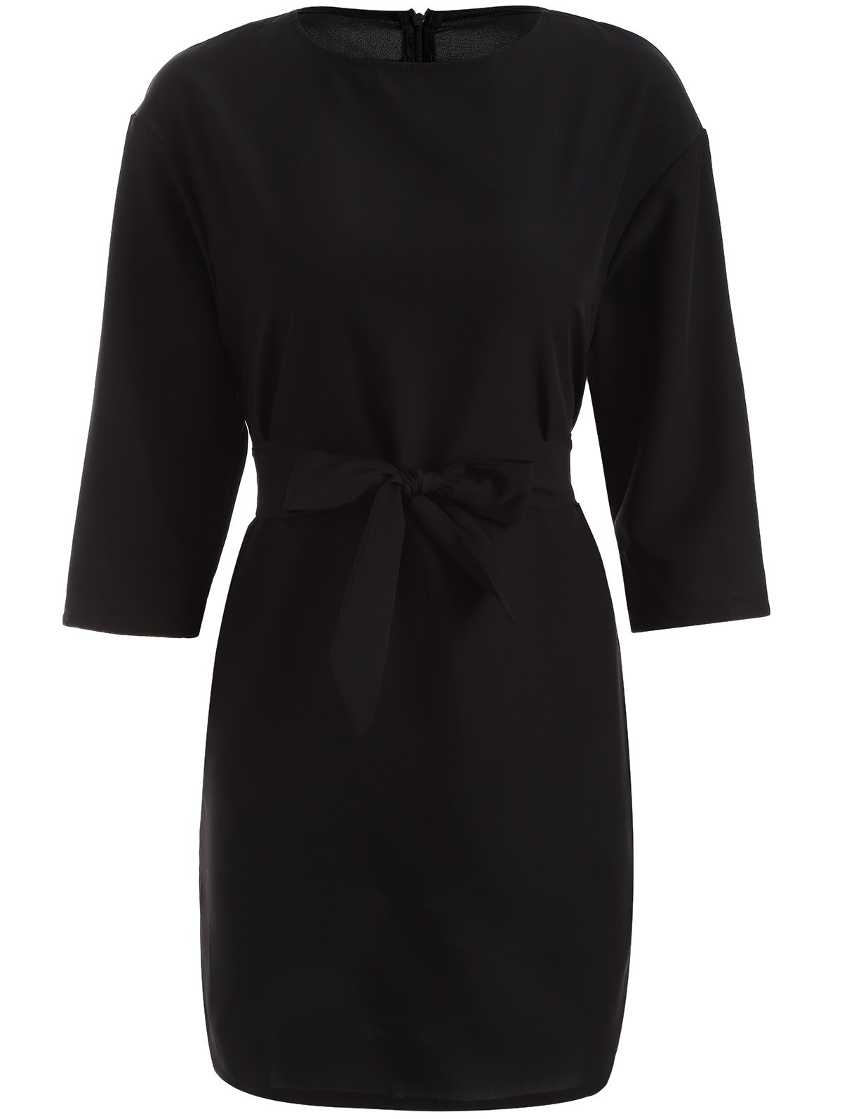 Slimming 3/4 Sleeve A-Line Dress - BLACK 2XL