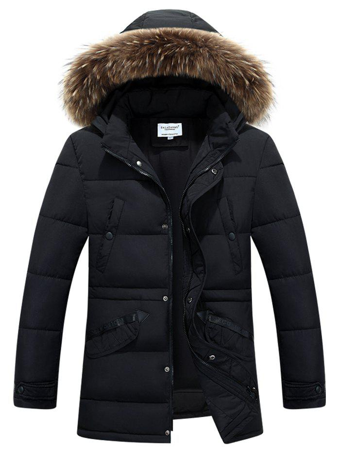Buy Faux Fur Collar Hooded Zip-Up Selvedge Embellished Padded Coat BLACK
