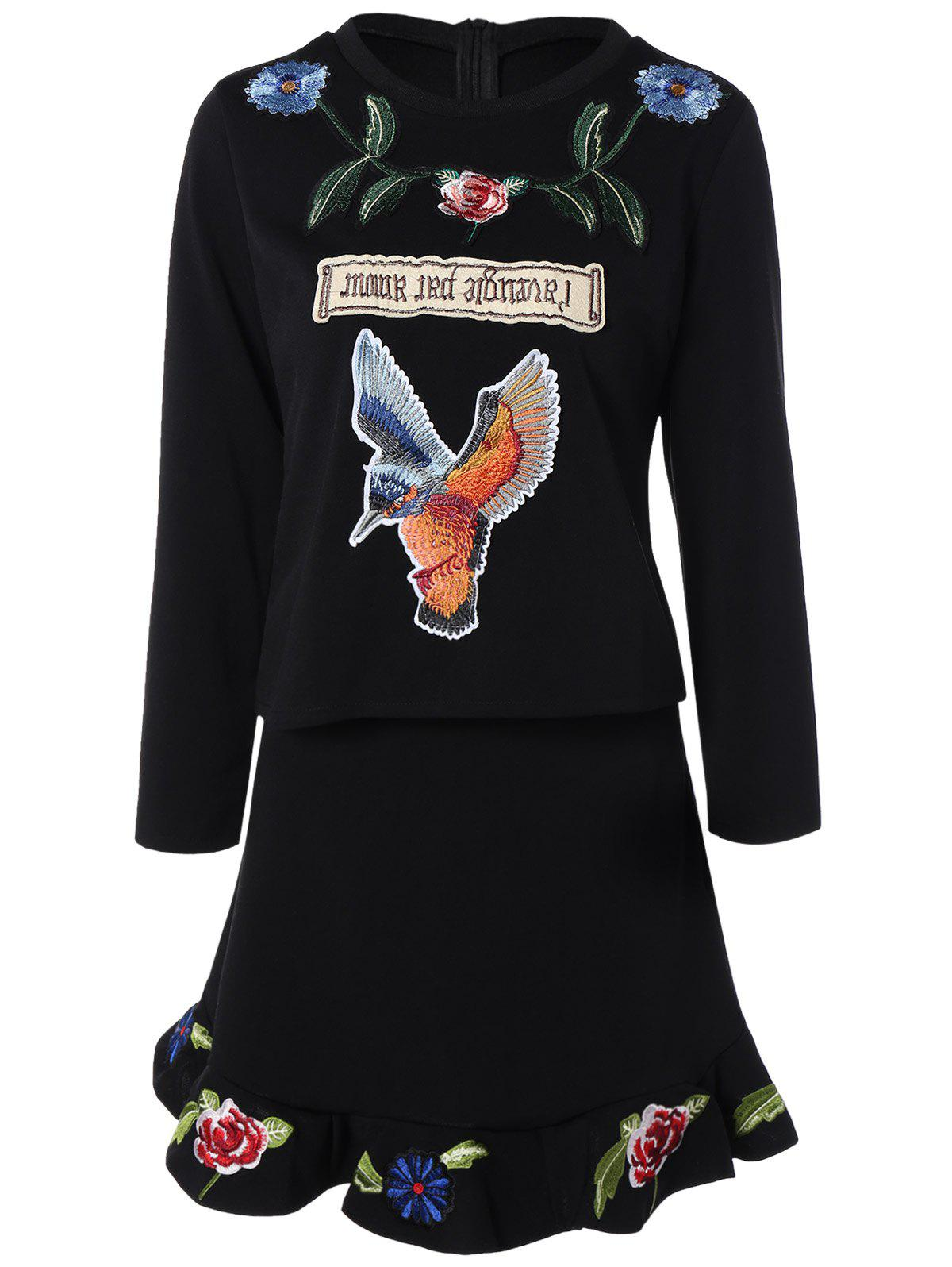 Flounced Flower Bird Embroidered Two Piece Dress - BLACK M