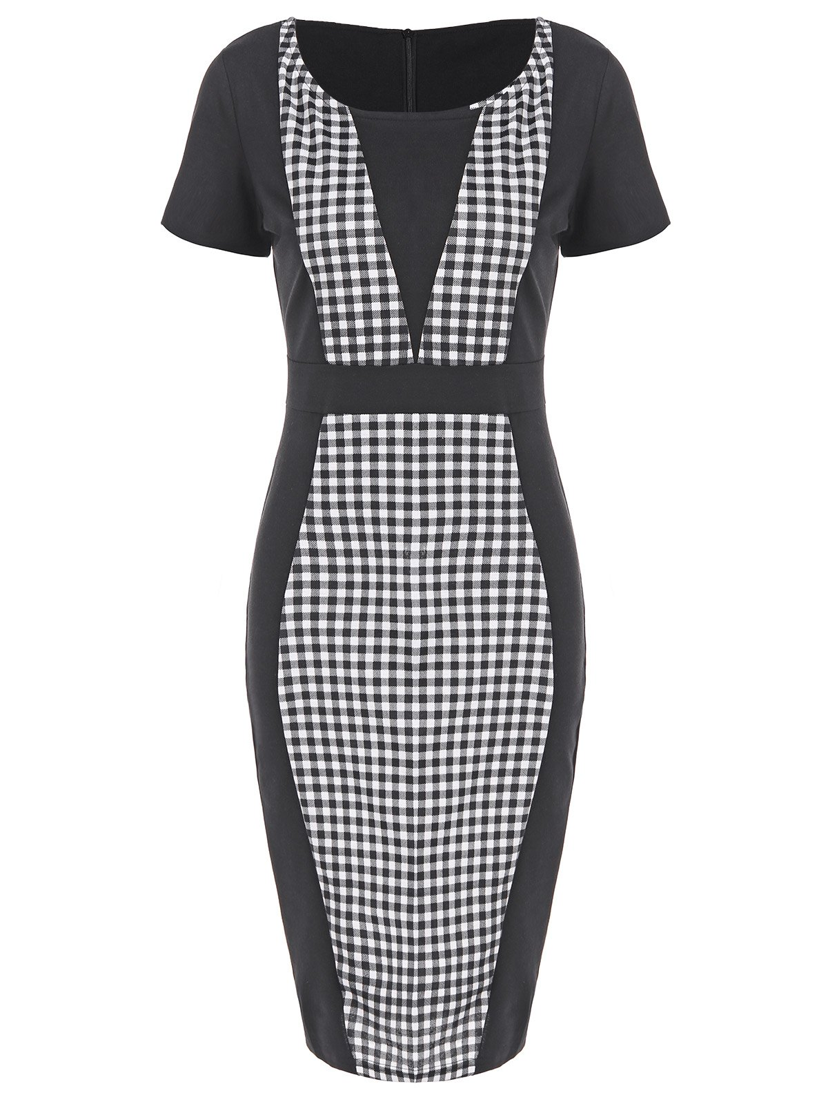 Plaid Sheath Pencil Work Dress plaid faux suede sheath dress