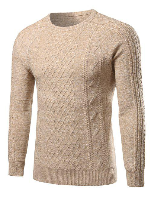 Raglan Sleeve Geometric Pattern Heathered Sweater - BEIGE 2XL