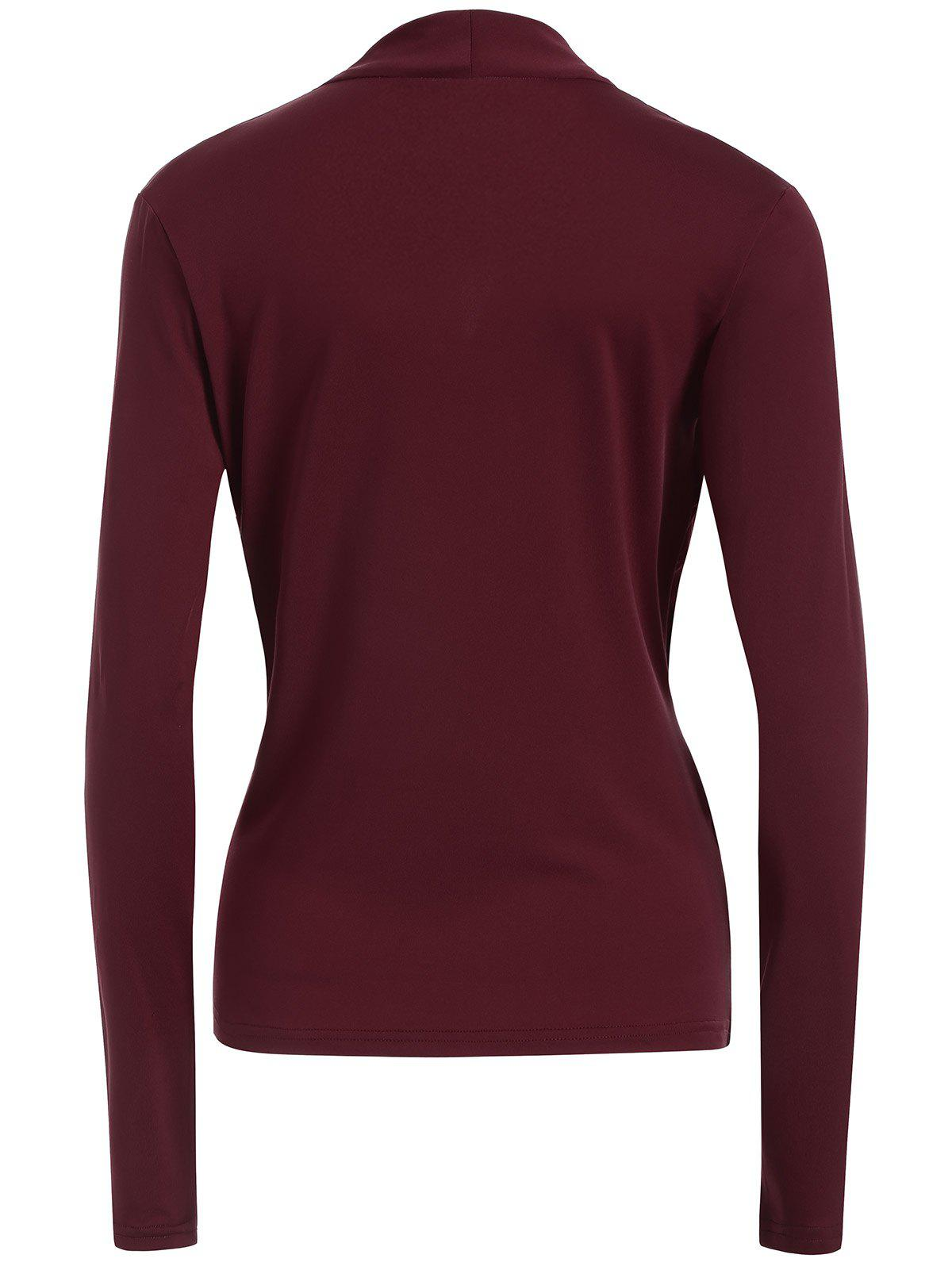 Surplice Stretchy Slimming T-Shirt - WINE RED XL