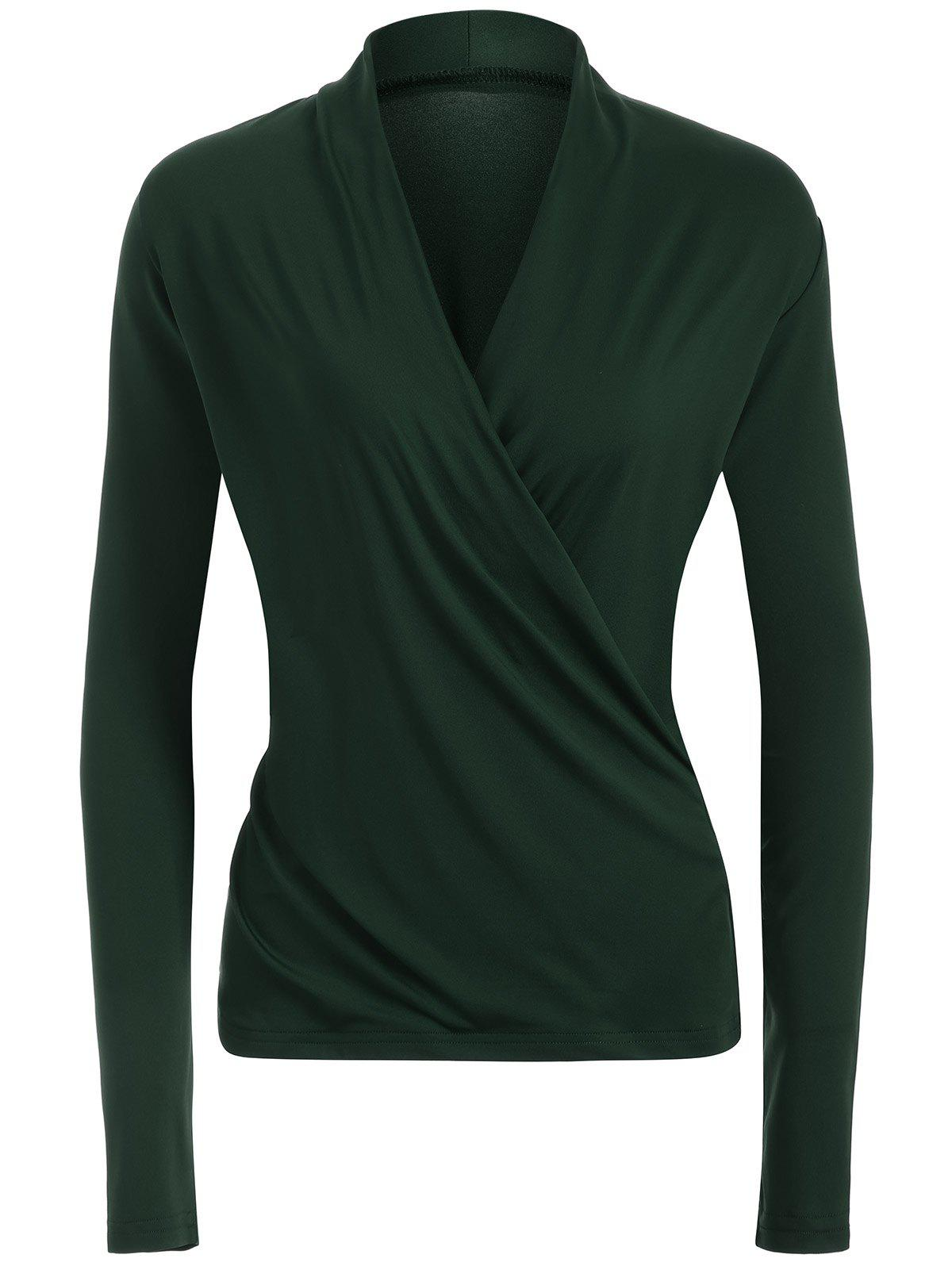 Surplice Stretchy Slimming T-Shirt - BLACKISH GREEN S
