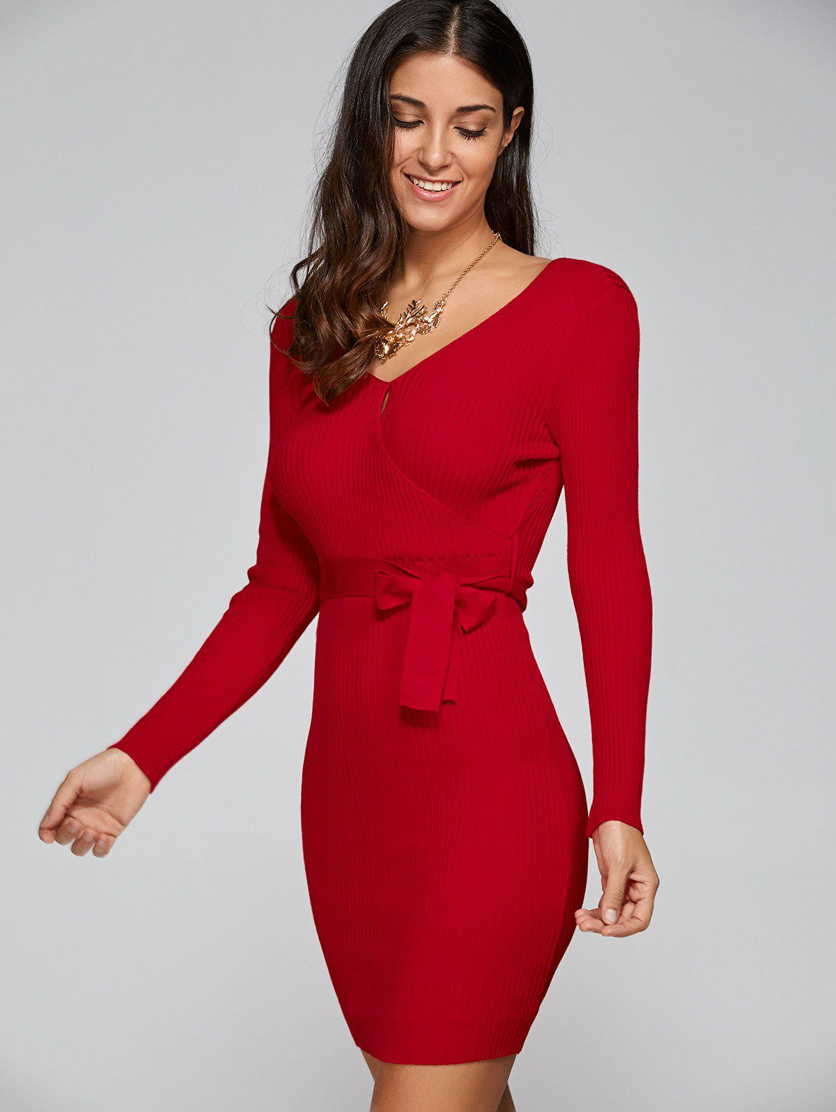 V Neck Tricot Long Sleeve Surplice Business Robe - Rouge ONE SIZE