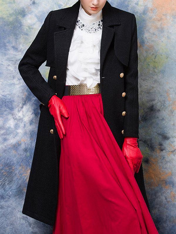 Wool Blend Double-Breasted Long Trench Coatwith Belt - BLACK M