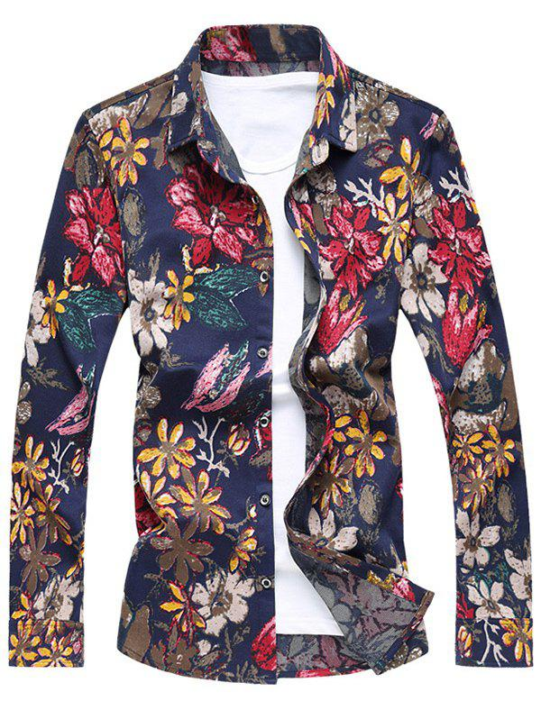 Button Front Long Sleeve Floral Shirt - RED XL