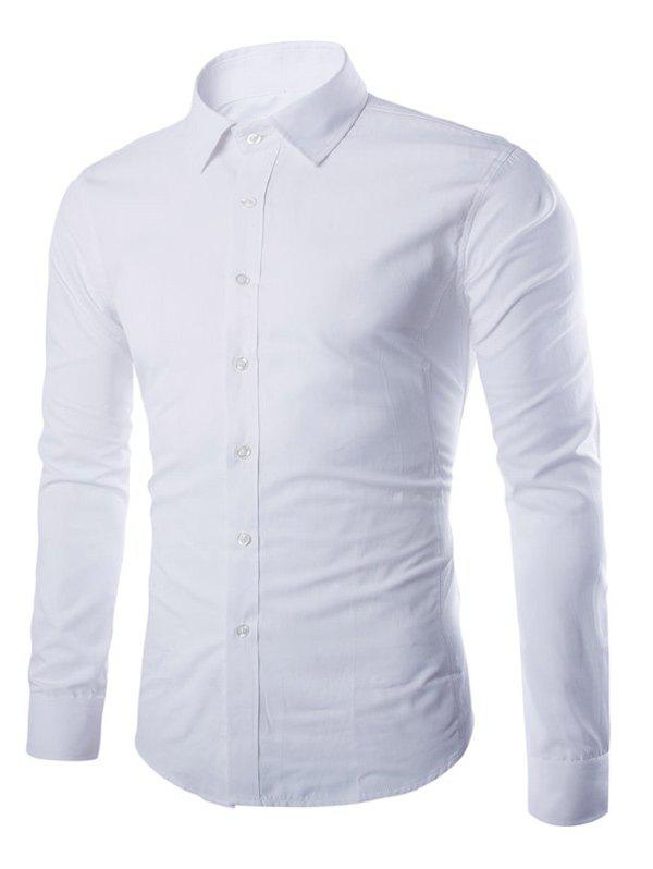 Button Up Turn-down col Chemise unie - Blanc L