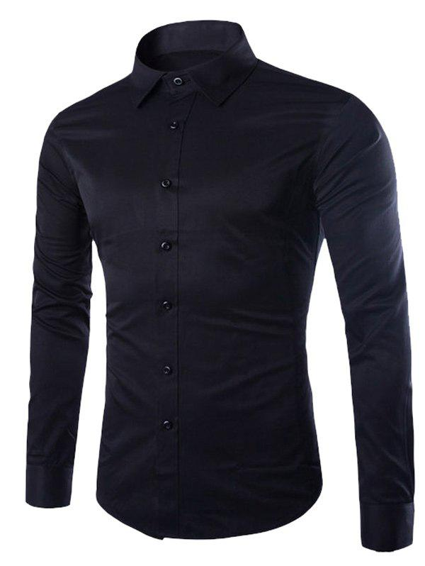 Button Up Turn-down col Chemise unie - Noir M