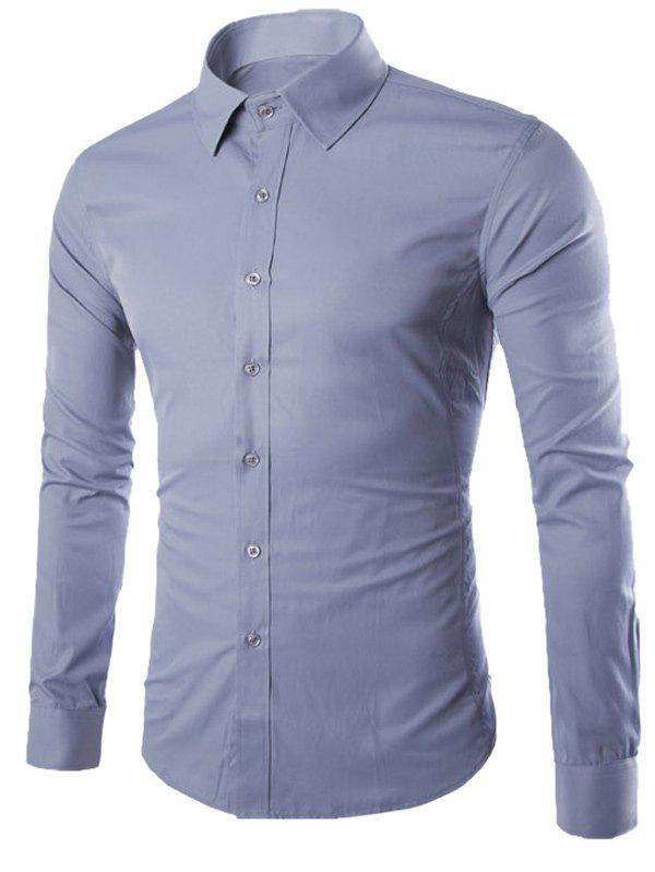 Button Up Turn-down col Chemise unie - gris 2XL
