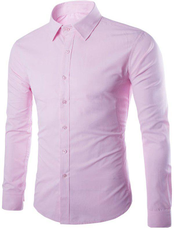 Button Up Turn-down col Chemise unie - ROSE PÂLE M
