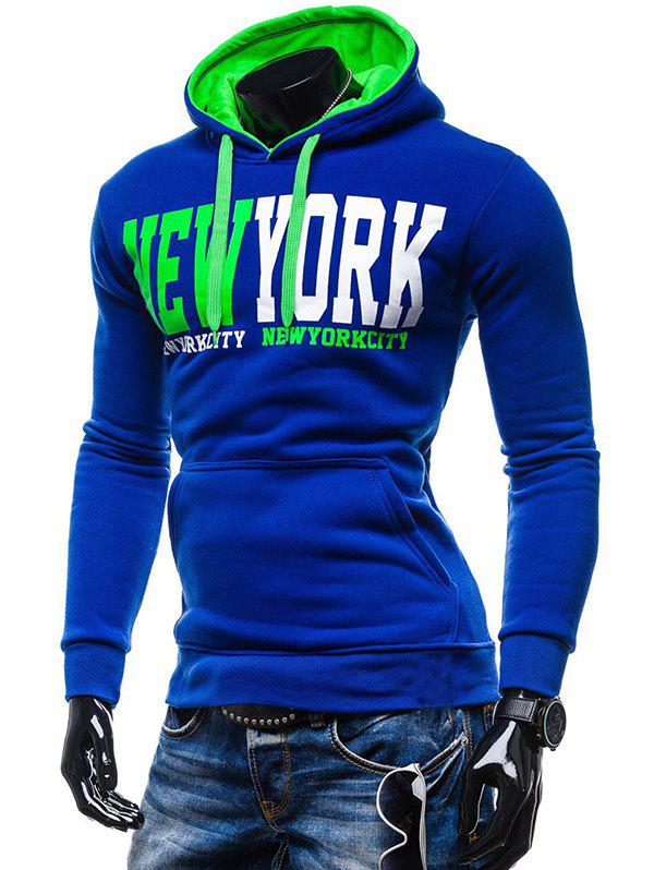 Kangaroo Pocket de New York Impression Sweat à capuche - Bleu L