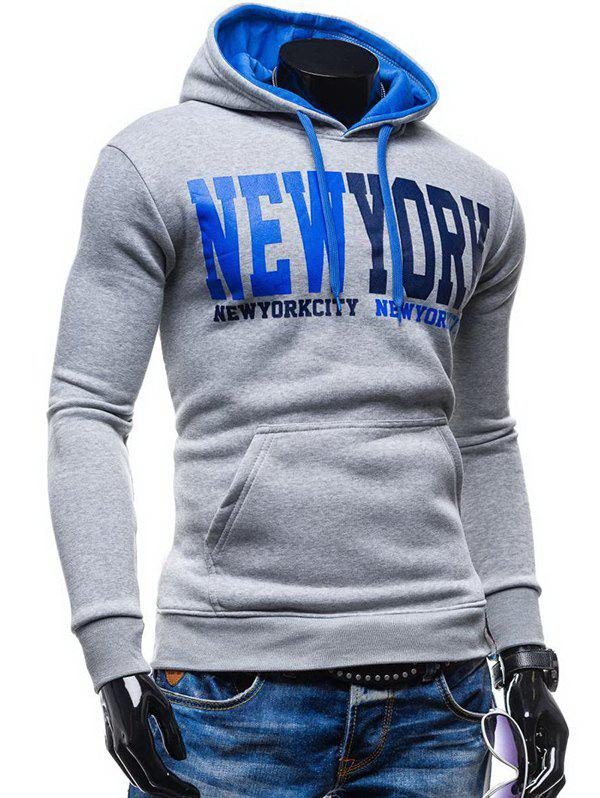 Kangaroo Pocket de New York Impression Sweat à capuche - Gris Clair 2XL