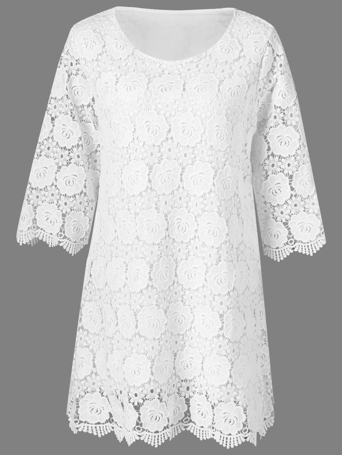 Lace Floral Overlay 3/4 robe à manches - Blanc XL