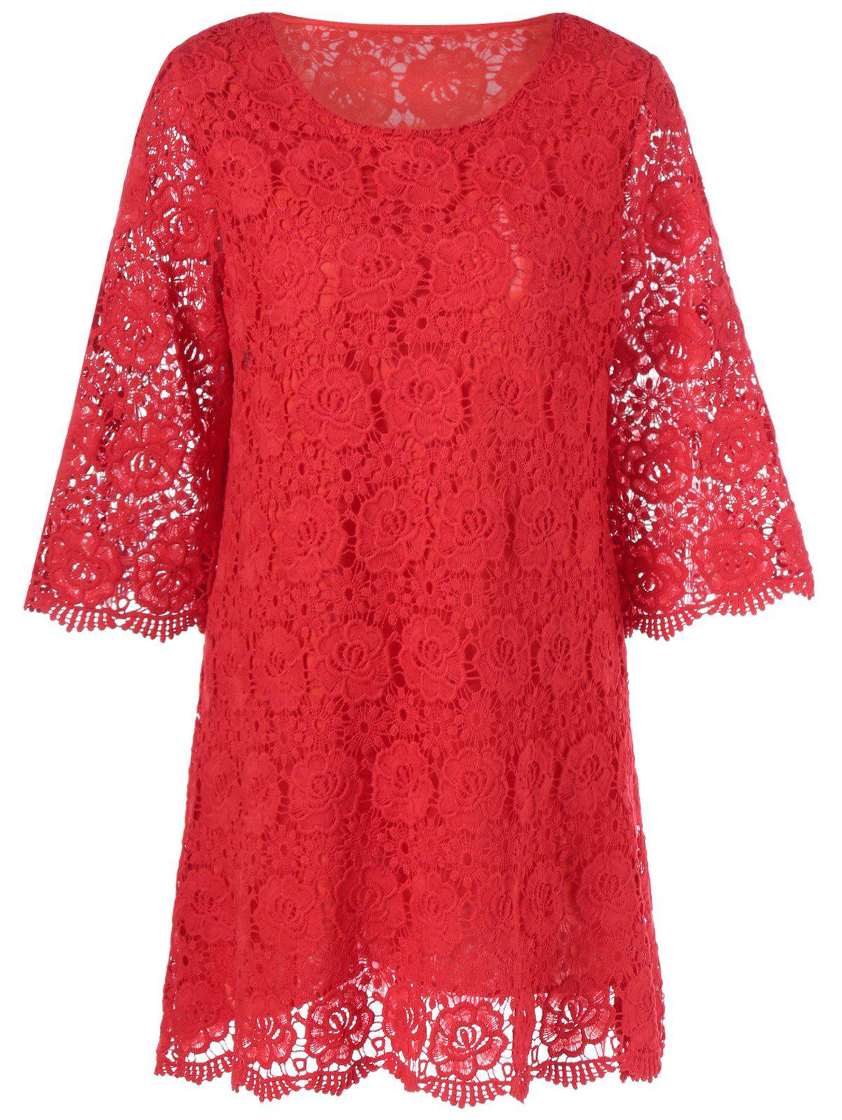 Lace Floral Overlay 3/4 Sleeve DressWomen<br><br><br>Size: L<br>Color: RED