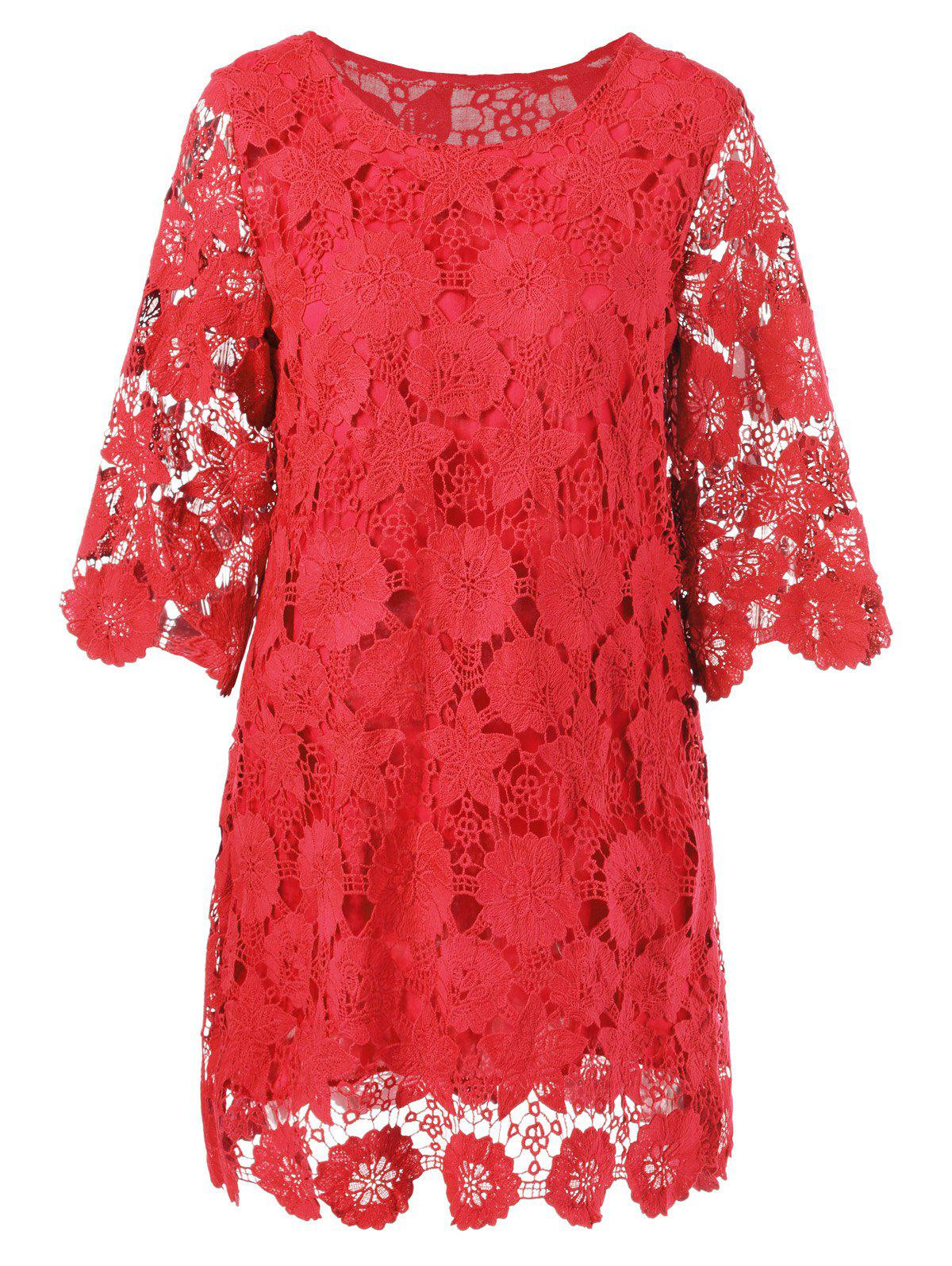 Lace Floral Sheer Shift Cocktail Dress - RED 2XL