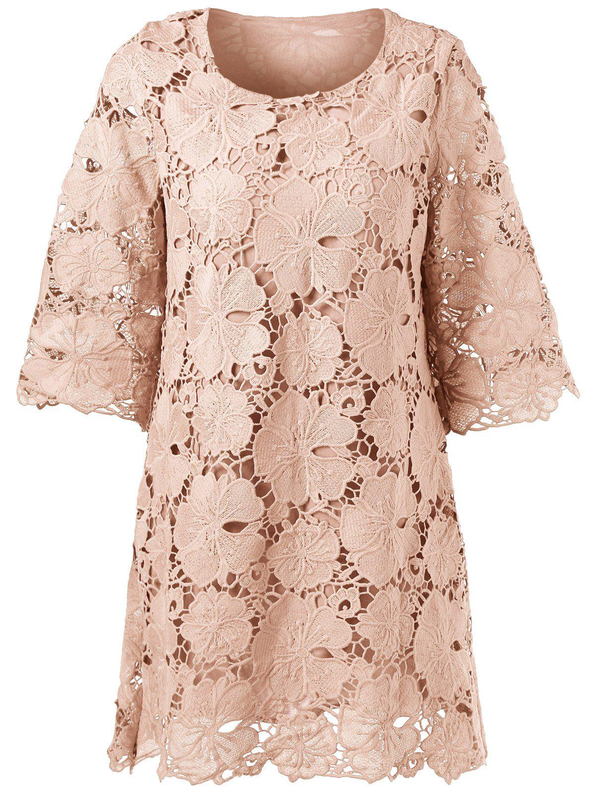 Sheer Lace Floral Overlay Shift Dress - APRICOT M