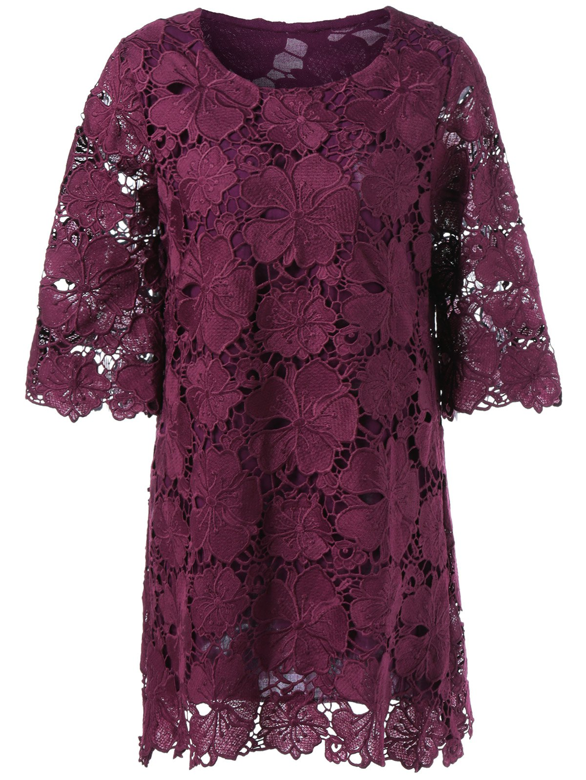 Sheer Lace Floral Overlay Shift Dress - DARK RED L