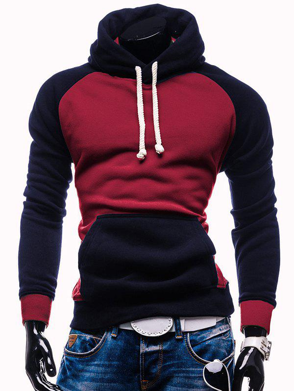 Raglan manches Kangaroo Pocket Color Block Hoodie - Rouge vineux 2XL