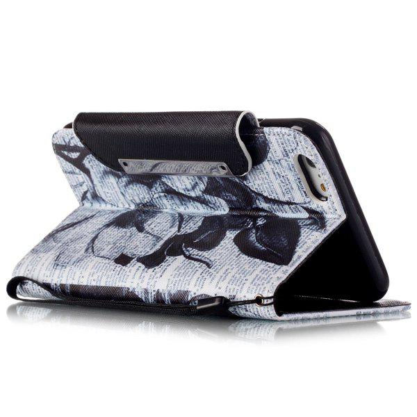Newspaper Floral Flip Stand PU Leather Wallet Card Case For ipnone 6S Plus - WHITE/BLACK