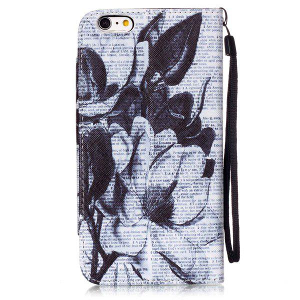 Journal Floral flip stand PU Porte-cartes en cuir Wallet iPhone 6S Case Plus - Blanc et Noir