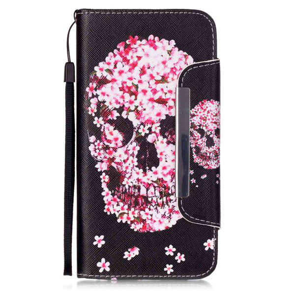 Skull Floral Flip Stand PU Leather Wallet Card Slot Case For iPhone 6S Plus 2 in 1 army camo camouflage magnet wallet case with card holders for iphone 6 6s 4 7inch pu wallet purse
