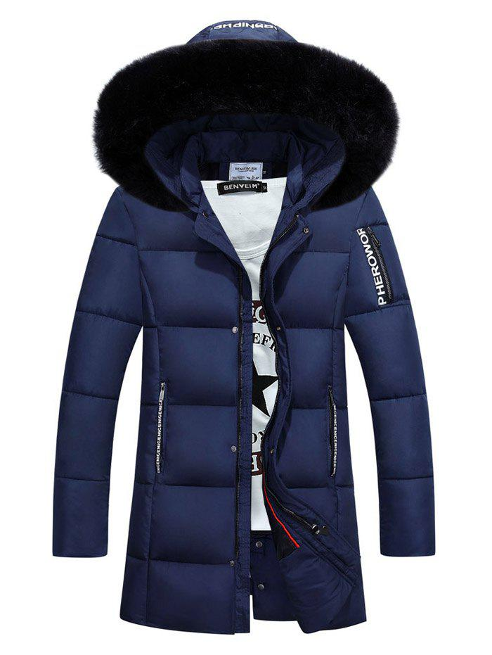 Furry Hood Zip-Up Graphic Selvedge Embellished Padded Coat