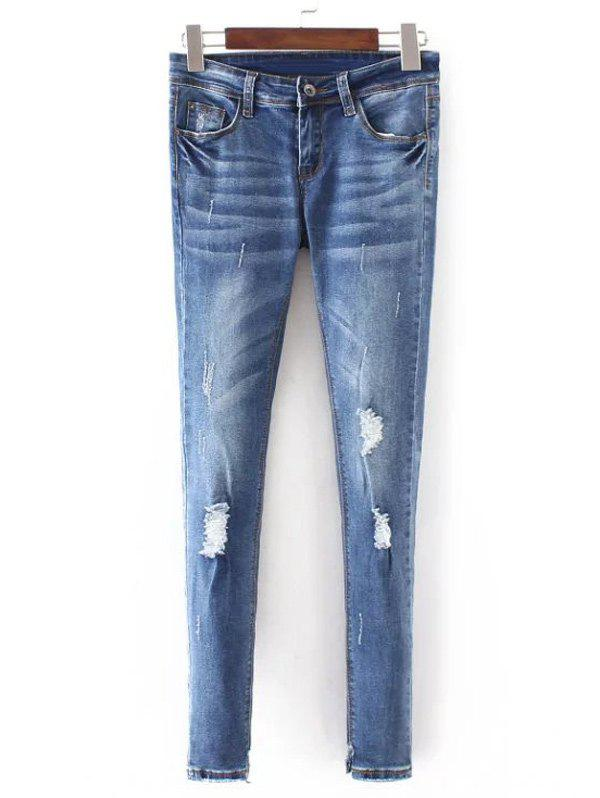 Pantalon effilochée Bleach Wash Denim Pencil - Bleu Clair S
