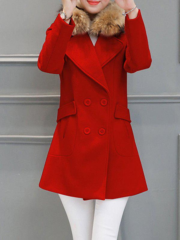 Buy Fur Collar Walker Peacoat RED