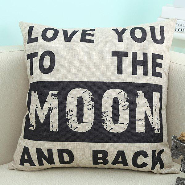 Home Decor Love You Moon Quote Printed Cushion Pillow Case - BEIGE