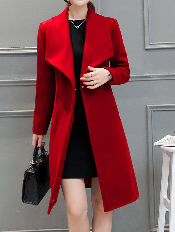 Drape Front Woolen Blend Walker Coat - RED M