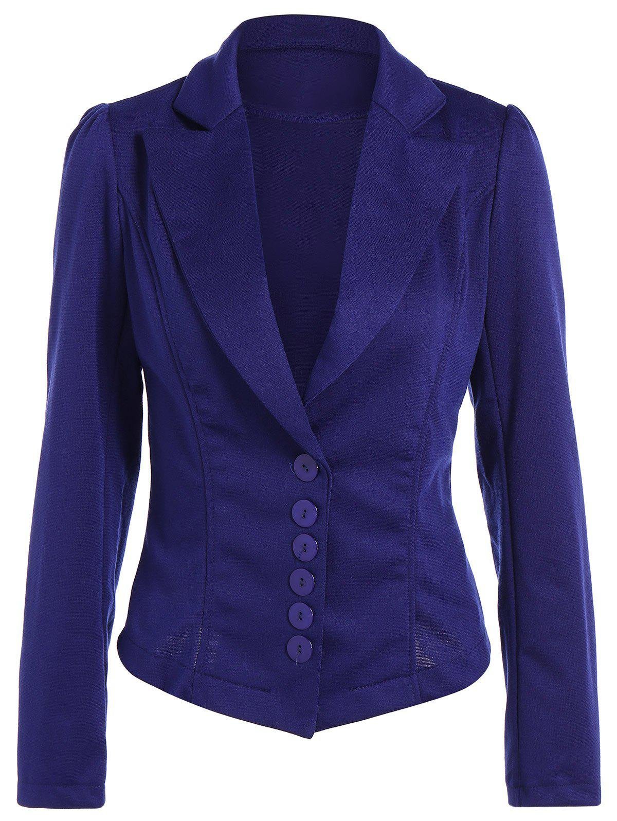 Asymmetric Lapel Single Breasted Blazer - BLUE S