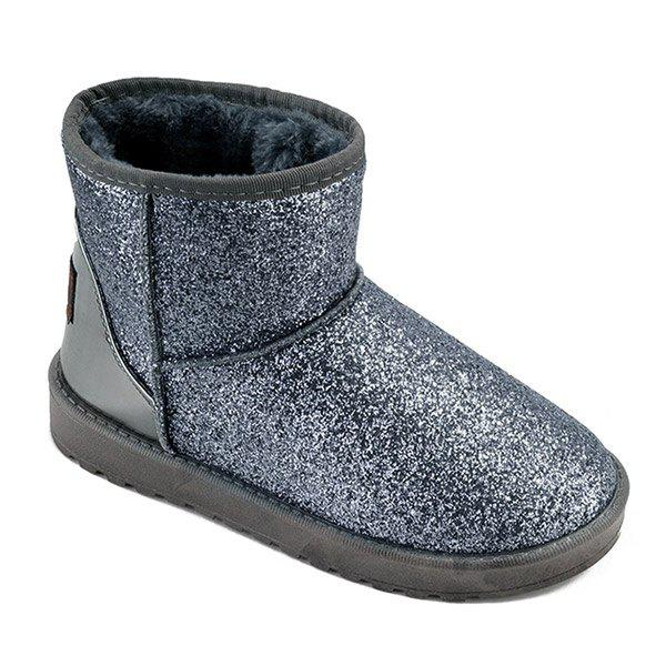 Flat Heel Splicing Sequined Cloth Snow Boots - SILVER 37