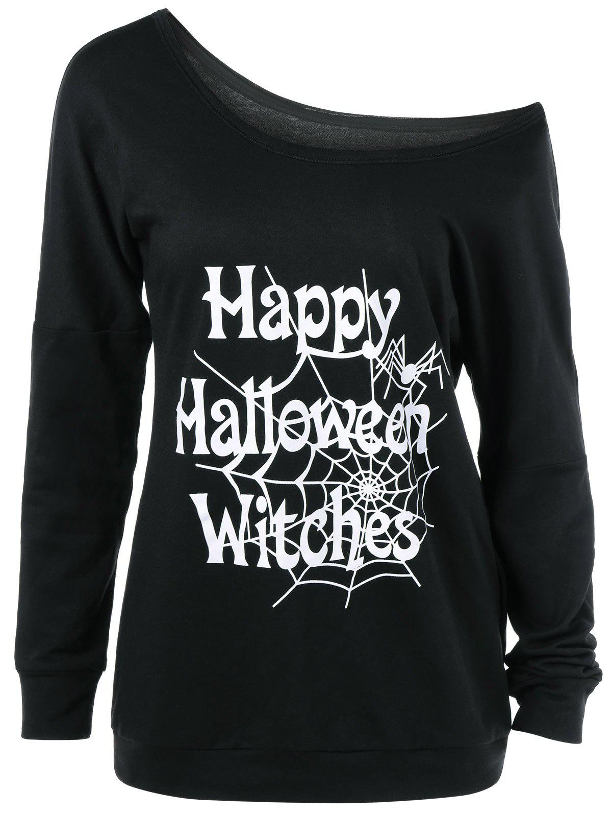 Plus Size Skew Collar Halloween T-ShirtWomen<br><br><br>Size: 4XL<br>Color: BLACK