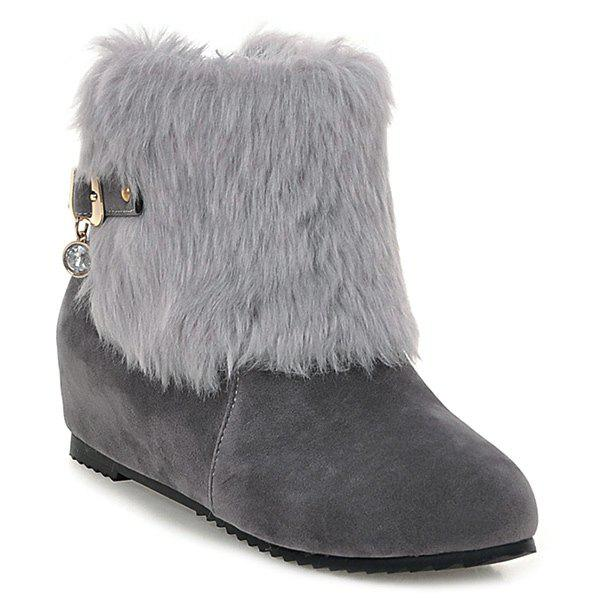 Faux Fur Buckle Hidden Wedge Short Boots GRAY 40