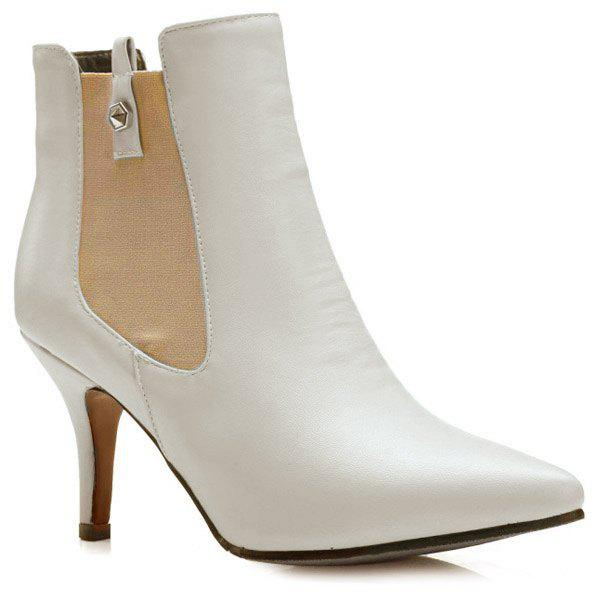 Elastic Band Pointed Toe Ankle Boots - OFF WHITE 39