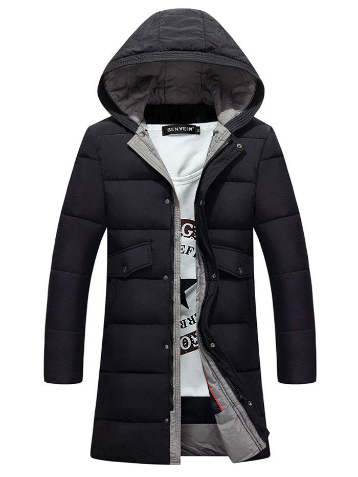 цены Lengthen Pockets Zip-Up Hooded Padded Coat