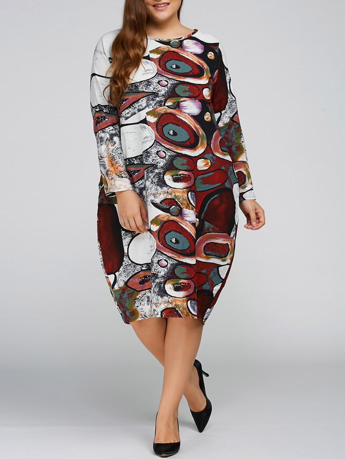 Long Sleeve Plus Size Cocoon Dress - WINE RED ONE SIZE