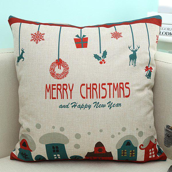 Linen Sofa Cushion Merry Christmas Cartoon Printed Pillow Case handpainted pineapple and fern printed pillow case