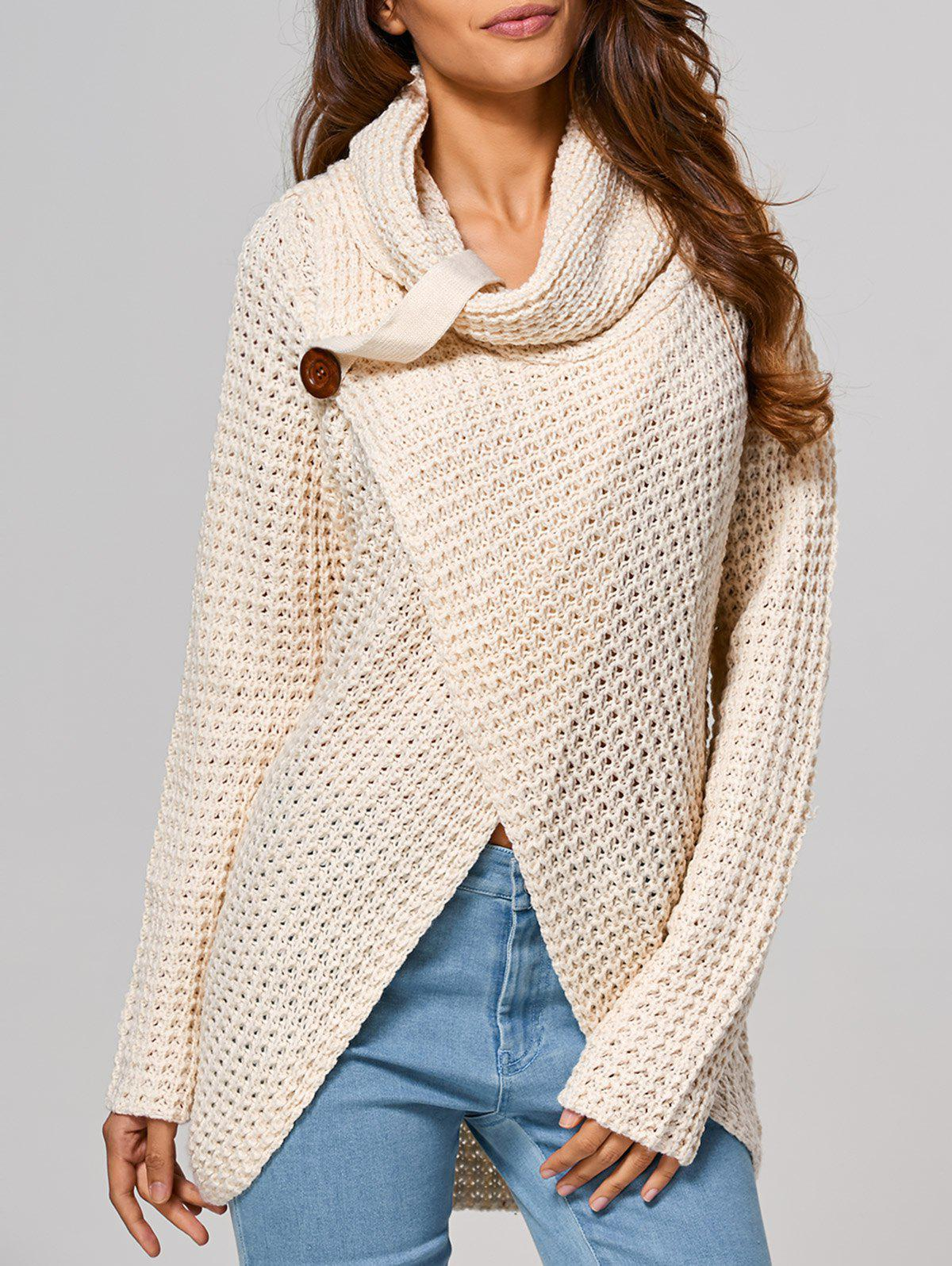 Hollow Out Front Slit Wrap Sweater front slit long knit sweater