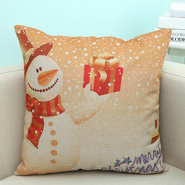Merry Christmas Snowman Printed Linen Cushion Pillow Case handpainted pineapple and fern printed pillow case